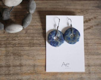 Slices of life - Lapis lazuli on sterling silver earrings
