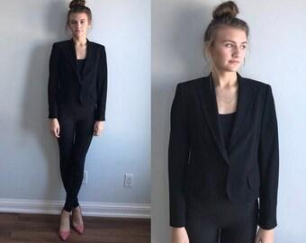 Vintage Black Jacket, A-K-R-I-S Punto, 1990s Black Jackat, Ladies Black Jacket, Black Wook Jacket, Vintage Ladies Jacket, Wool Jacket