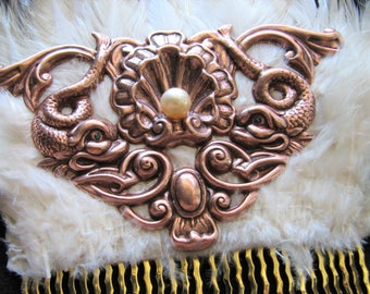Pearl hair comb | copper | sea serpent | saltwater pearl | mermaid crown | rose gold | ocean