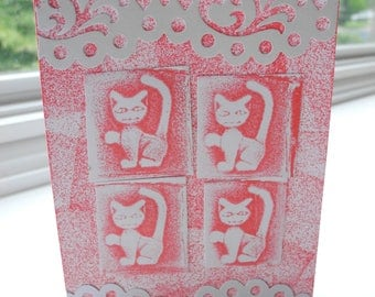 One of a Kind Handcrafted Greeting Card with handmade Cat stamp