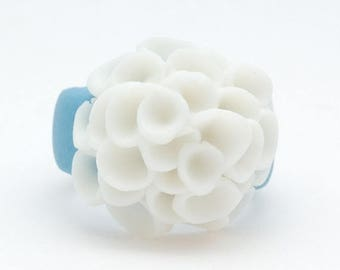 SALE El Medano Sky Blue and White Porcelain Ring with cluster white  flowers, Ceramic jewellery,Porcelain Jewellery