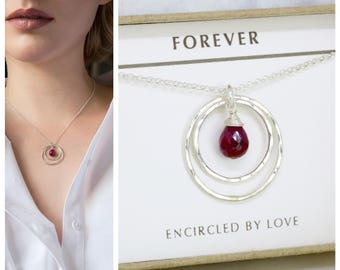 Ruby necklace for daughter, July birthday gift goddaughter, niece, July birthstone necklace - Celeste