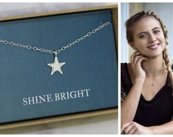 Star necklace silver, star jewelry, Christmas gift for daughter, shine bright necklace, gift for sister, girlfriend - Astra