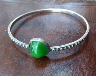 Art Deco 1920s 1930s sterling silver bangle paste flapper bracelet green stone