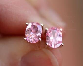 Watermelon Ice - Pink Topaz Sterling Silver Stud Earrings