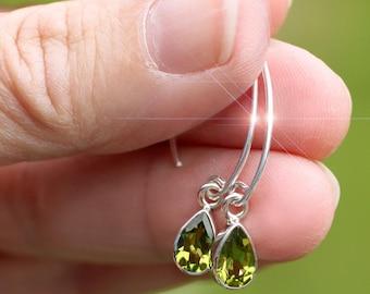 Mint Green - Faceted Peridot Sterling Silver Earrings