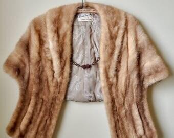 Vintage 50s Brown Mink Shaw fits multiple sizes