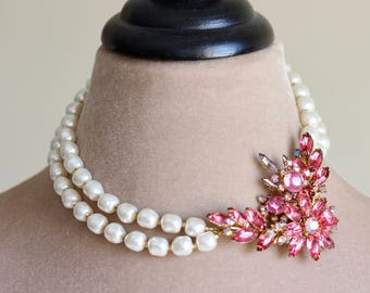 Crystal Brooch Pearl Necklace, Pink, White, Pearl Necklace, Double Strand, Statement Necklace, Removable Brooch, Gold Tone, Pink Paradise