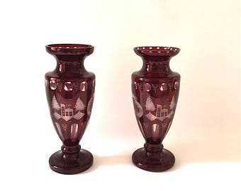 Vintage Red Czech Glass Vases, set, Egermann, Bohemia, cut to clear