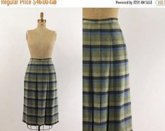vintage wool skirt - 70s preppy plaid skirt  - 1970s blue green wool skirt - fall skirt