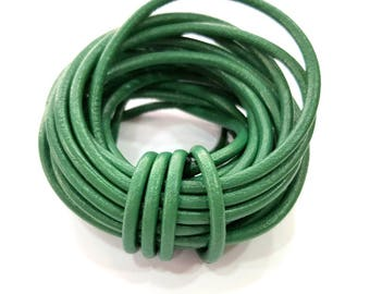 Leather Green Cord 1mt-3.3 ft (4mm) Round Leather Lacing G7925