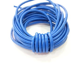 Leather Blue Cord 1mt-3.3 ft (4mm) Round Leather Lacing G7936