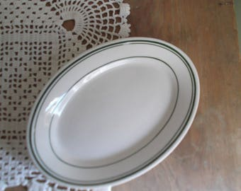 Vintage Ironstone Oval Plate Homer Laughlin Restaurant Ware Farmhouse Decor Soap Dish