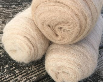 Alpaca roving 12oz color pack in 'Cream and Sugar' for spinning or felting