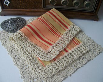 Striped Handkerchief, Hanky, Hankie, Hand Crochet, Lace, Ladies, Women's, Doily, Personalized, Embroidered, Ready to ship