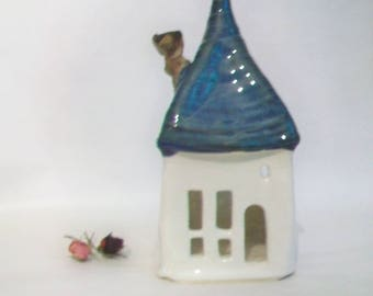 Fairy House -- Luminary, Candle Holder  - Unique Decor -- Handmade on Potters Wheel - White House, Blue/Green Roof - Ready to Ship