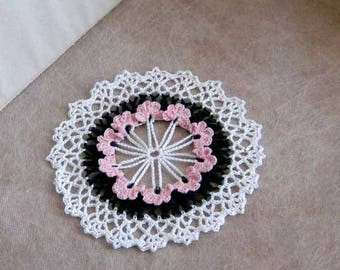 Spring Violets Crochet Lace Doily, Pink Flowers, Cottage Chic Home Decor, African Violets Table Decor, Feminine, Paris Bedroom, Gift for Her
