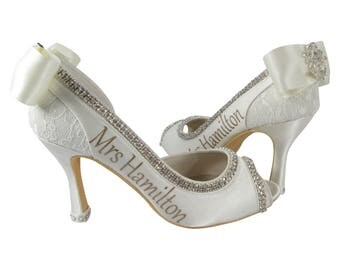 Champagne and Ivory Peep Toe Bridal Heels, Wedding Pumps with Mrs last name and satin bows with lace rhinestone embellishment