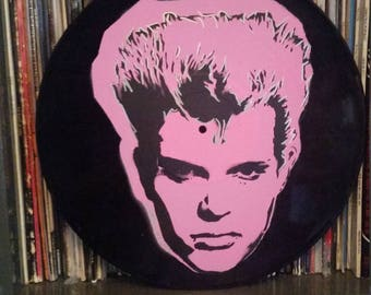 Billy Idol Rebel Yell 80s pop art upcycled vinyl record painting street art spray paint stencil pop art record store art Rainbow Alternative