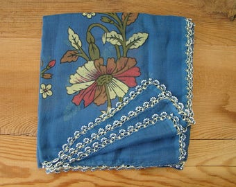 blue vintage turkish scarf, crochet beaded edging
