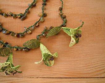 green multistrand necklace, turkish oya flower necklace