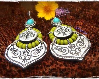 Indie TREE earrings Ornate Earrings Tree of Life Beaded earrings Yggdrasil native American Indian earrings Boho Turquoise earrings GPyoga