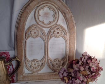 Vintage Wooden Board Traceried Style Design / White Chalky, Antique Reproduction / Noe Gothic Home Decor / Decorative Antiques
