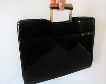 50% OFF SALE Vintage 1960's Black Patent Shiny Briefcase Purse / Bright Red Interior Large Tote Business Woman's Handbag