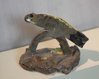 amazing wood fired bird beast sculpture