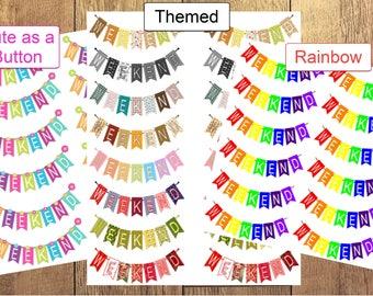 Sticker Sheet   Planner Stickers - Weekend Banner Flags