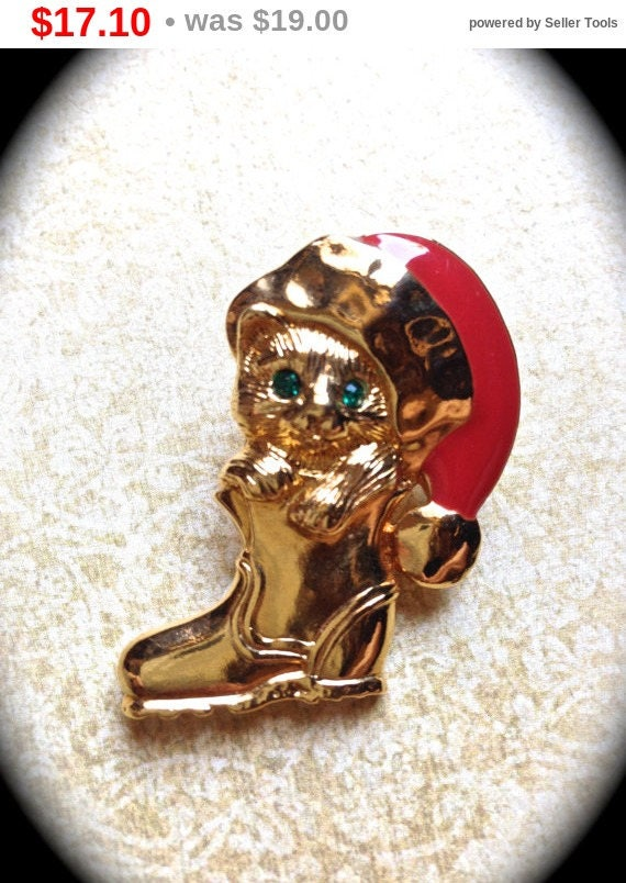 Summer Sale Signed Avon vintage Christmas kitty stocking brooch