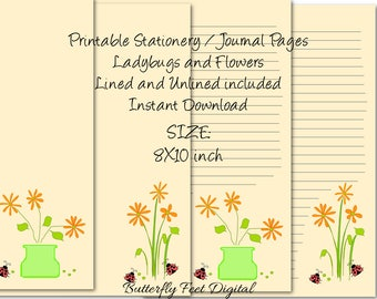 Printable Stationery, Lined and Unlined Paper, 8x10 Note Paper, Journal Pages, Instant Digital Download
