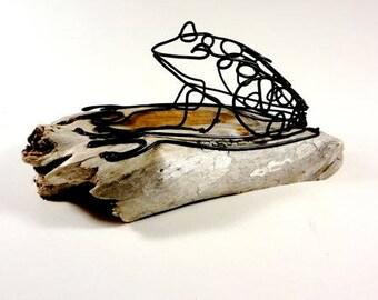 Frog Wire Sculpture, Frog Folk Art, Minimal Sculpture, Home Decor, 551084203