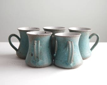 Victoria Littlejohn Set of Five (5) Studio Pottery Stoneware Mugs Mid Century Modern