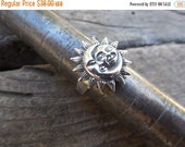 ON SALE Moon and sun ring , cast in sterling silver 925