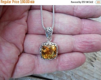 ON SALE Beautiful Madeira citrine necklace handmade in sterling silver 925