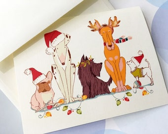 Dog Christmas Card, Holiday Cards, Christmas Card Set, Funny Christmas, Set of 10