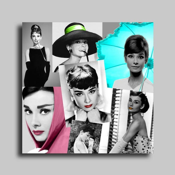 tableau toile photo audrey hepburn noir blanc collage abstrait. Black Bedroom Furniture Sets. Home Design Ideas