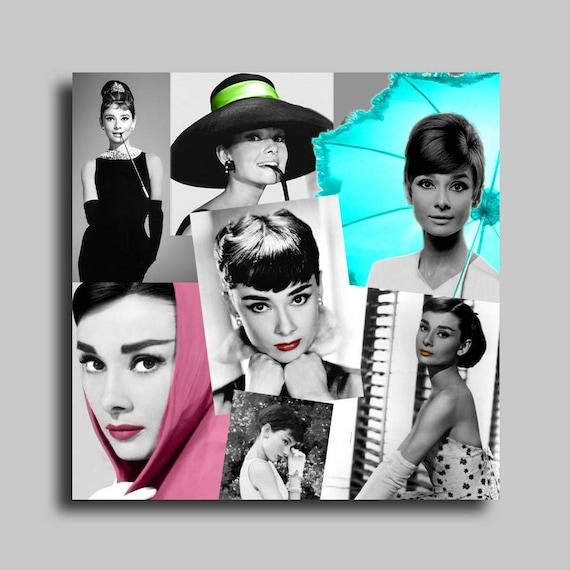tableau toile photo audrey hepburn noir blanc collage abstrait. Black Bedroom Furniture Sets. Home Design Ideas
