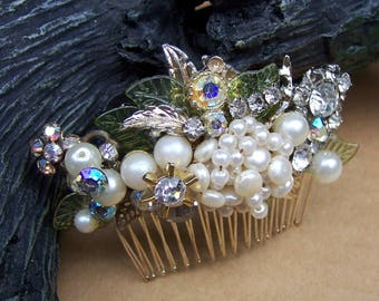 Retro hair comb glitzy pearls and beads hair accessory decorative comb hair jewelry hair pick hair pin hair fork (AAB)