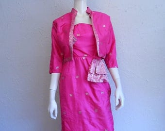 Clearance 60% Off A Night Out in Mumbai - Vintage 1950s Hottest Hot Pink Silk Sari Inspired Wiggle Dress w/Matching Bolero