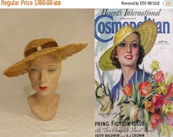 WW2 ENDS SALE Summer Time Shade - Vintage 1930s Natural Colour Cello Straw Wide Brim Hat w/Faux Pearl Detail