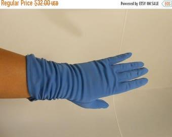 WW2 ENDS SALE Feeling Blue in Gloversville - 1950s Meyer's Make Cornflower Blue Nylon Ruched Gloves - 7.5