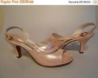 WW2 ENDS SALE Miss Taylor to Costume Department - 1950s Petal Pink Pearlized Slingback Heels - 7.5M