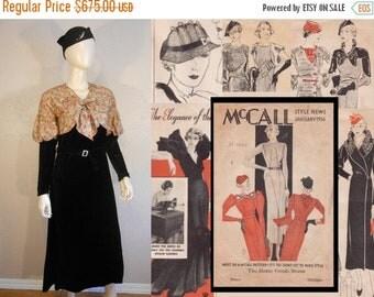 Anniversary Sale 35% Off Design For Living - Vintage 1930s Black Velvet & Deco Print Silk Rayon Jabot Juliet Sleeve Dress - 4/6