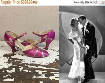 Anniversary Sale 35% Off Boldly We Dance - Vintage 1930s Fuchsia Silk Satin & Silver Wedding Evening Open Vamp High Heels Pumps Shoes -7/7.5