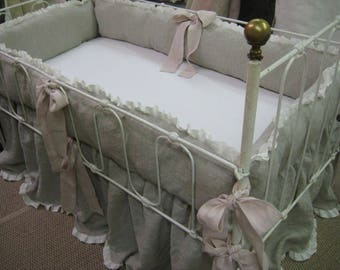 READY to SHIP TODAY--Washed Linen Ruffled Crib Bedding-Oatmeal and Vintage White-Blush Pink Detail