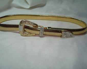Vintage ACCESSOCRAFT NYC Gold and Silver Tone Stretchy Western Like Metal Belt.