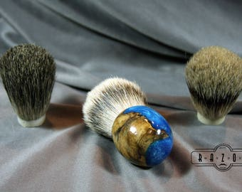 American Maple Burl Blue Shaving Brush Choose Badger Hair Brush Father's Day Gift Birthday Wet Shaving Brush Customize brush Ready2Ship