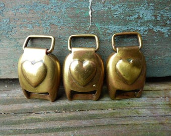 3 vintage brass Heart Buckles horse Bridle Equestrian tack Barn salvage Show harness Art Crafts supplies